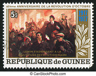 Lenin speaking - GUINEA CIRCA 1978: stamp printed by Guinea,...
