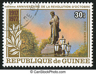 Pushkin Monument - GUINEA CIRCA 1978: stamp printed by...