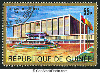 Palace - GUINEA CIRCA 1967: stamp printed by Guinea, shows...