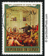 Lenin Addressing Workers - GUINEA CIRCA 1970: stamp printed...