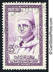 Sultan Mohammed - MOROCCO - CIRCA 1957 stamp printed by...