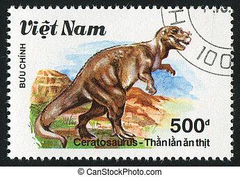 Ceratosaurus - VIET NAM - CIRCA 1990: stamp printed by Viet...
