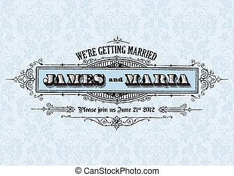 Vector Vintage Wedding Announcement. Easy to edit. Perfect...