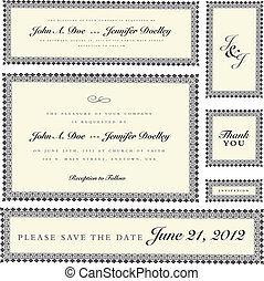 Vector Ornate Wedding Frame Set Easy to edit Perfect for...