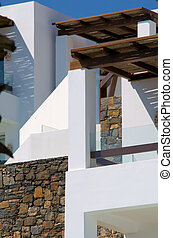 mediterranean  architecture with white and stones