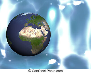 the earth on a blue background