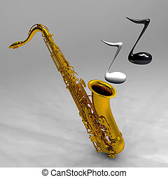 the saxophone and the notes