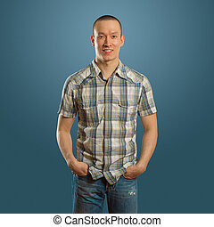 man looking at camera against different backgrounds