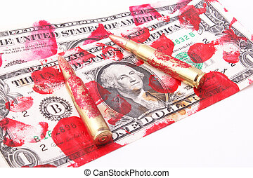 one-dollar bills - Bloodstained one-dollar bills with two...