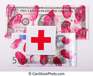 Red Cross on bloodstained bills of one-dollar and 5 Euro