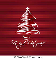 Christmas tree - Christmas tree on paper background. Holiday...