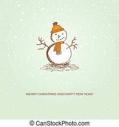 christmas card with snowman - Cute vintage christmas card...