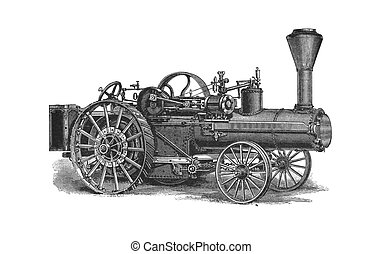 Wheeled tractor - This vintage engraving depicts a...