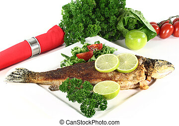 trout miller - roasted trout miller with parsley salad with