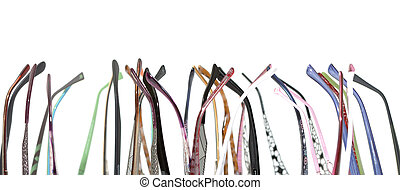 a lot of earpiece glasses on white background