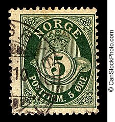 Postage stamp - NORWAY-CIRCA 1883:A stamp printed in NORWAY...