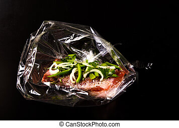 Belly meat in baking foil