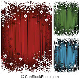 Winter Backgrounds - Vector collection of grunge winter...