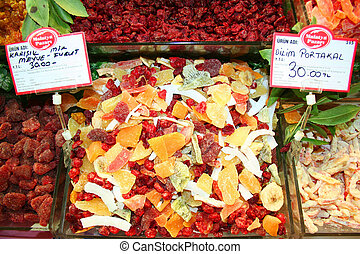 Dried fruit slices at bazaar
