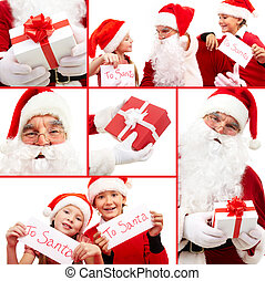 New Year Eve - Collage of Santa with gifts and kids holding...