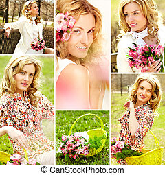 Female and nature - Collage of beautiful girl with flowers...