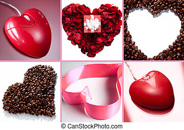 Creative hearts - Collage of hearts made up of pink ribbon,...