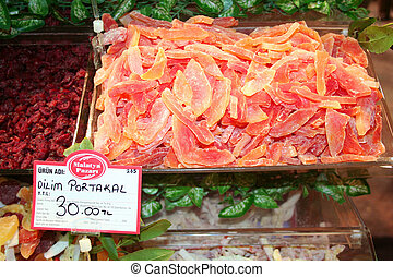 Dried fruit slices on a market