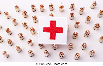 Red Cross on 9 mm cartridges