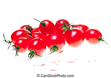 Roma tomatoes over white