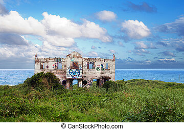 abandoned beach house