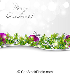 New Year Card With Garland And Ball, Vector Illustration