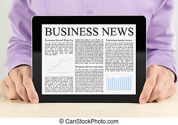 Businessman Showing Tablet PC WIth Business News -...