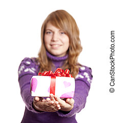 Blonde girl with present box at st. Valentine's day.