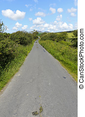 Llyn Peninsula - View along road between farmland the Llyn...