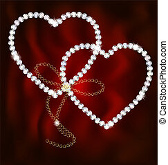 two jewel hearts - on an dark red background are golden...
