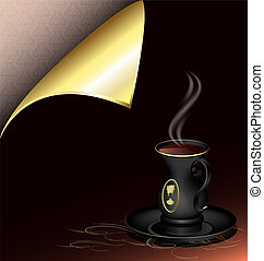 black cup and golden corner