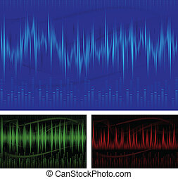 Equalizer Display - Graphic equalizer display, sound waves,...