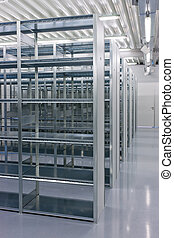 shelves of a rack lineup - a lineup of racks for storage in...