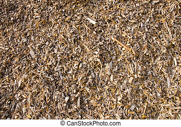 Background of wood shavings.Biomass fuels. - Background of...