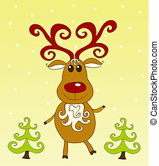 Christmas card. Rudolph on the yellow. Vector illustration.