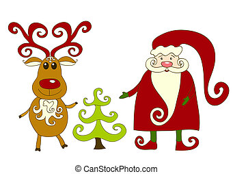 Santa, reindeer and tree.