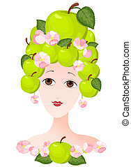 Apple lady - The woman with a hairdress from apples. Vector...