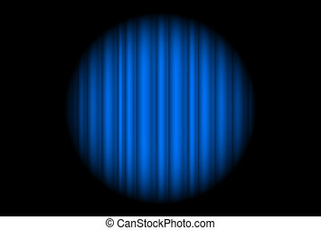 Stage with blue curtain and big spot light. Illustration of...