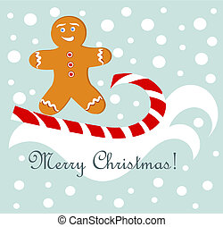 Gingerbread fun - Christmas fun - gingerbread man surfing on...
