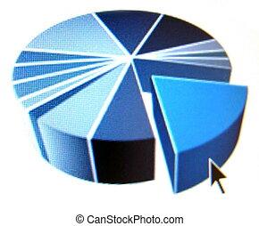 pie chart with black arrow