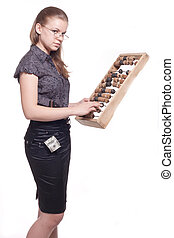 Girl with big wooden abacus background - Girl with big...