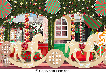 Christmas scenery - A wooden horse, ball, snow of Lovely...