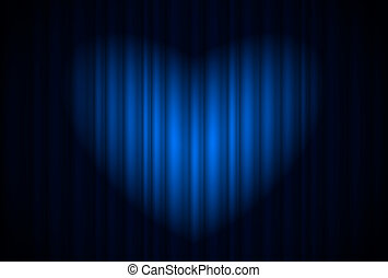 Stage with blue curtain and spotlight great, heart-shaped