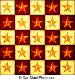 golden and red stars over checked background