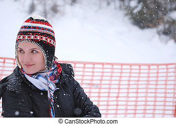 snow-girl - girl portrait with snowing weather